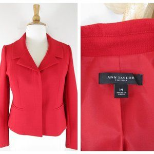 Ann Taylor Plus Size Solid Red Blazer Jacket 14